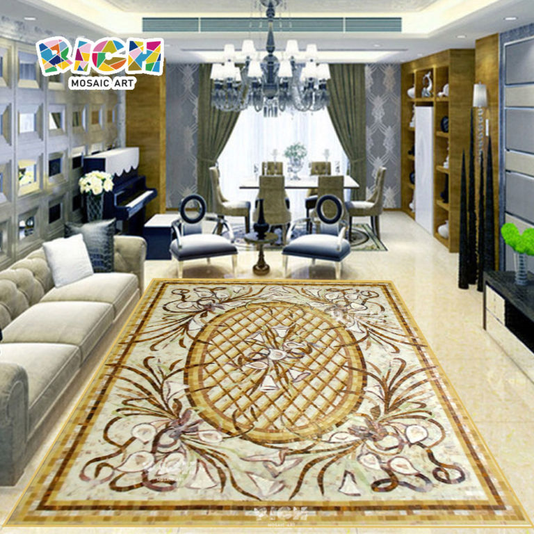 RM-FO04 Lily Flower Stone Medallion Floor Luxury Tile