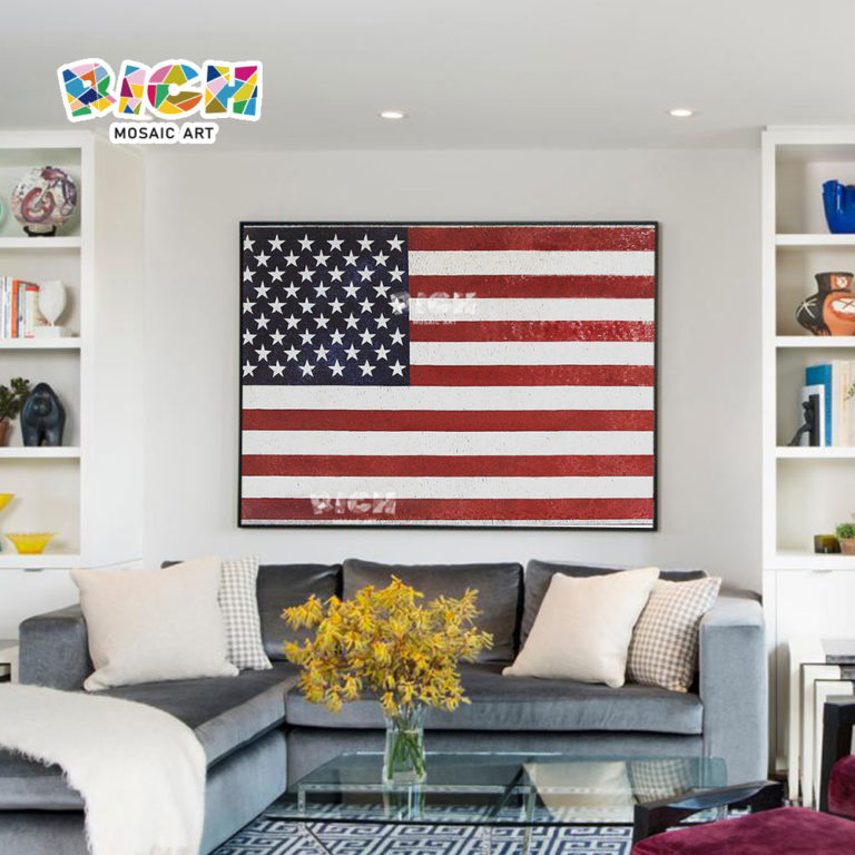 RM-IN01 American Flag Mosaic Creative Art Background Wall