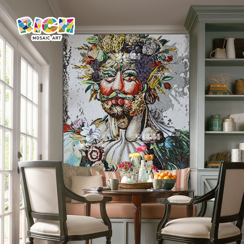 RM-IN03 Fruit Old Man Creative Dining Room Background Wall Mosaic