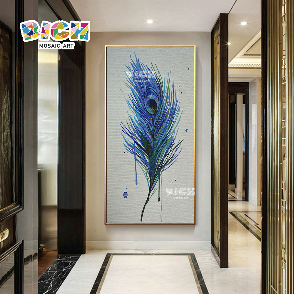 Paon Bleu Plume Créative Mosaïque Mur Peinture à La Main