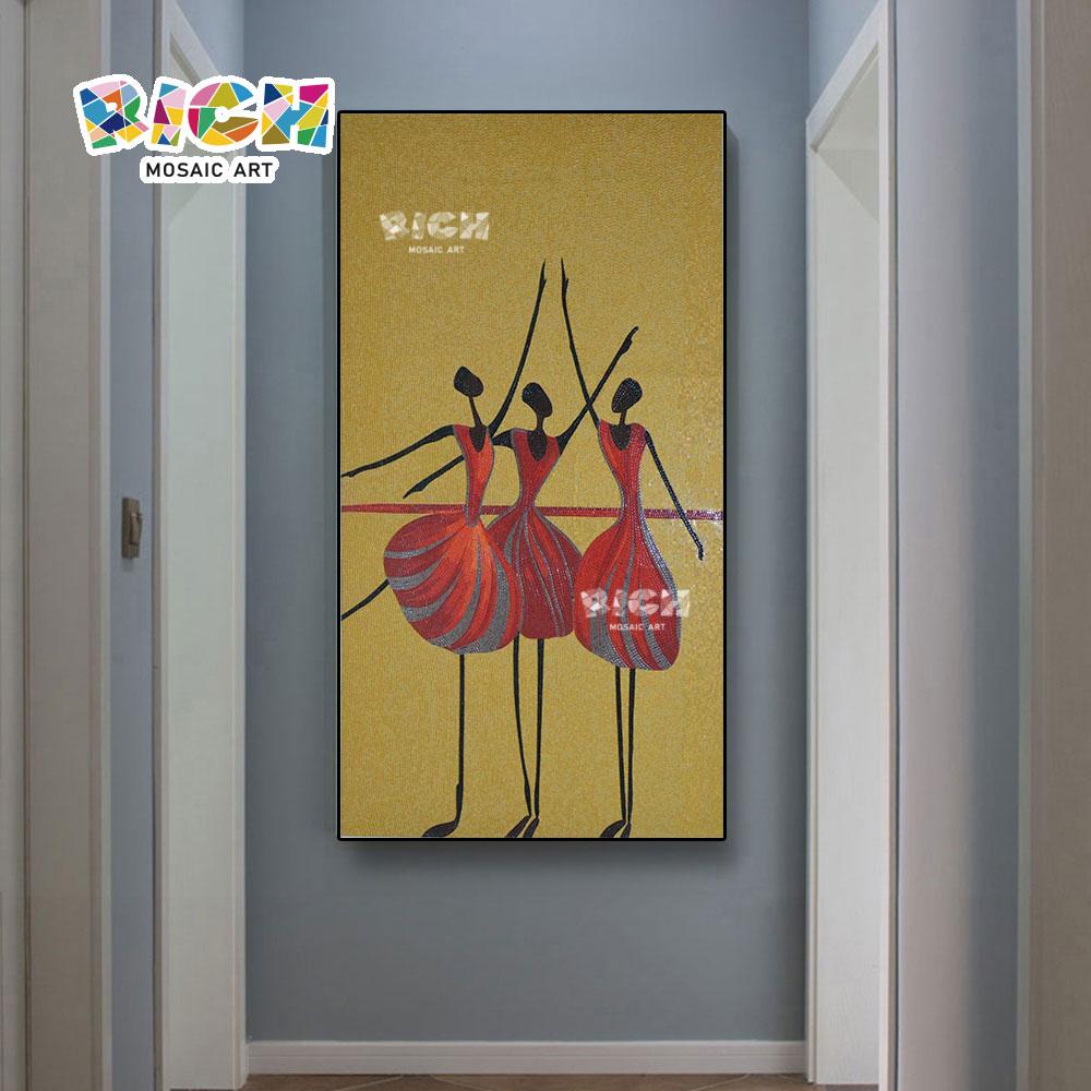 RM-IN06 Золотой фон Красное платье Балет Девушка Мозаика