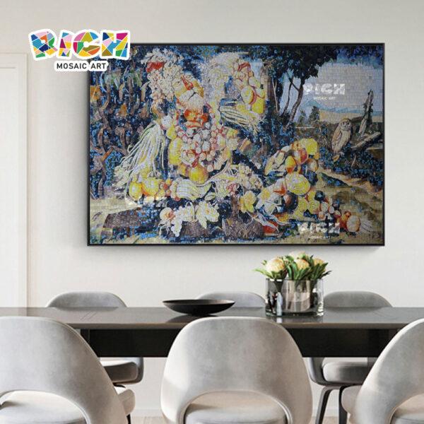 RM-IN07 colheita abstrata velho homem mosaico corta imagens de suspensão para sala de jantar
