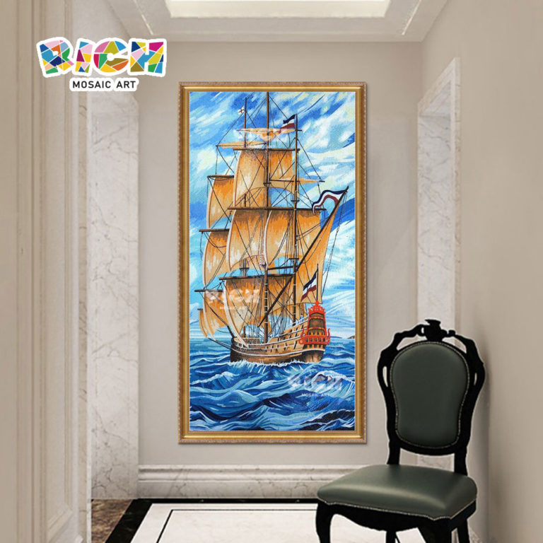 RM-IN09 piratas do Caribe navio corredor backsplash handmade Mosaic