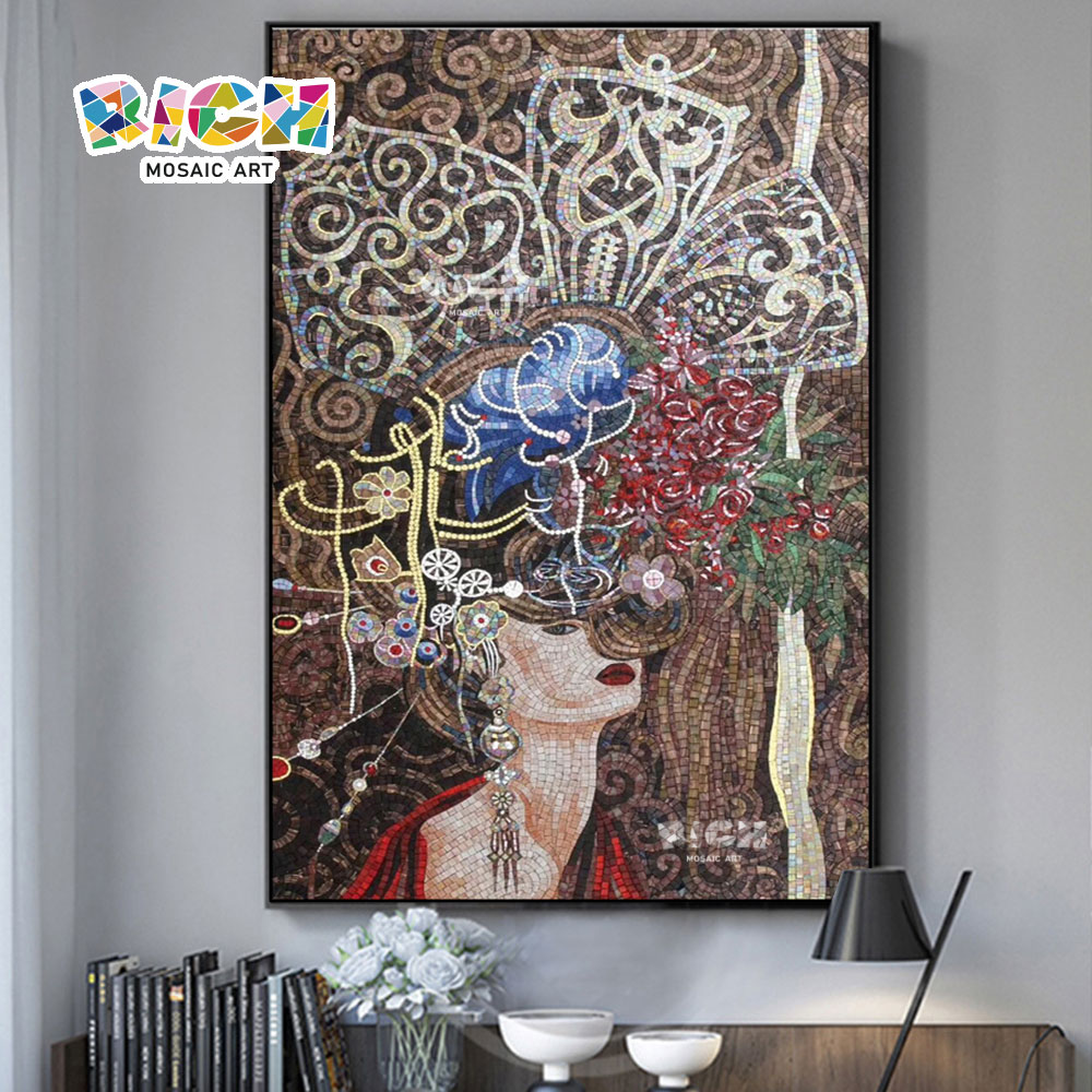 RM-IN11 Noble Woman Beautiful Hat Art Mosaic Mural