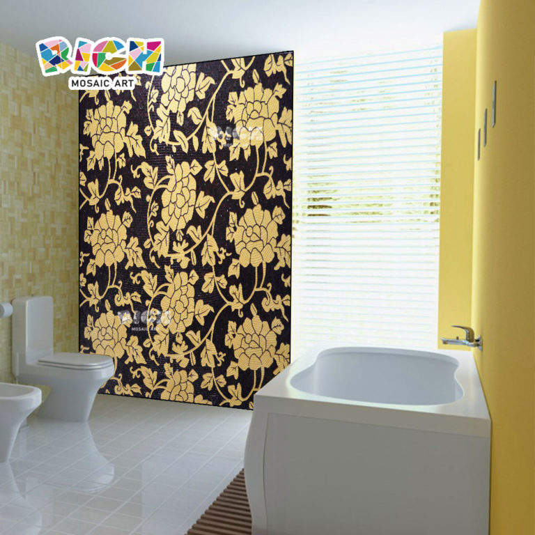 RM-IN13 Golden Pattern Flower Mosaic Art For Bathroom Wall