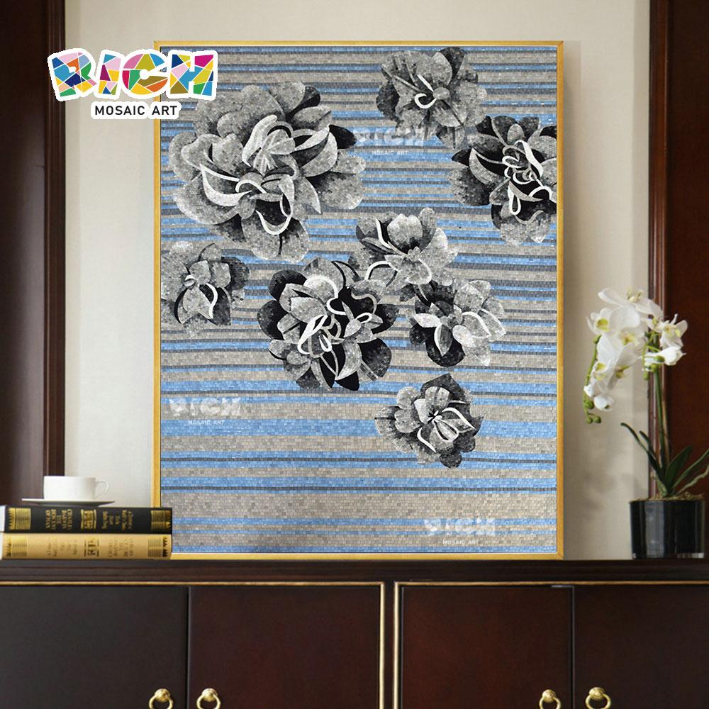 RM-IN16 noir blanc gris mixte Flower Pattern Handcut verre Design murale