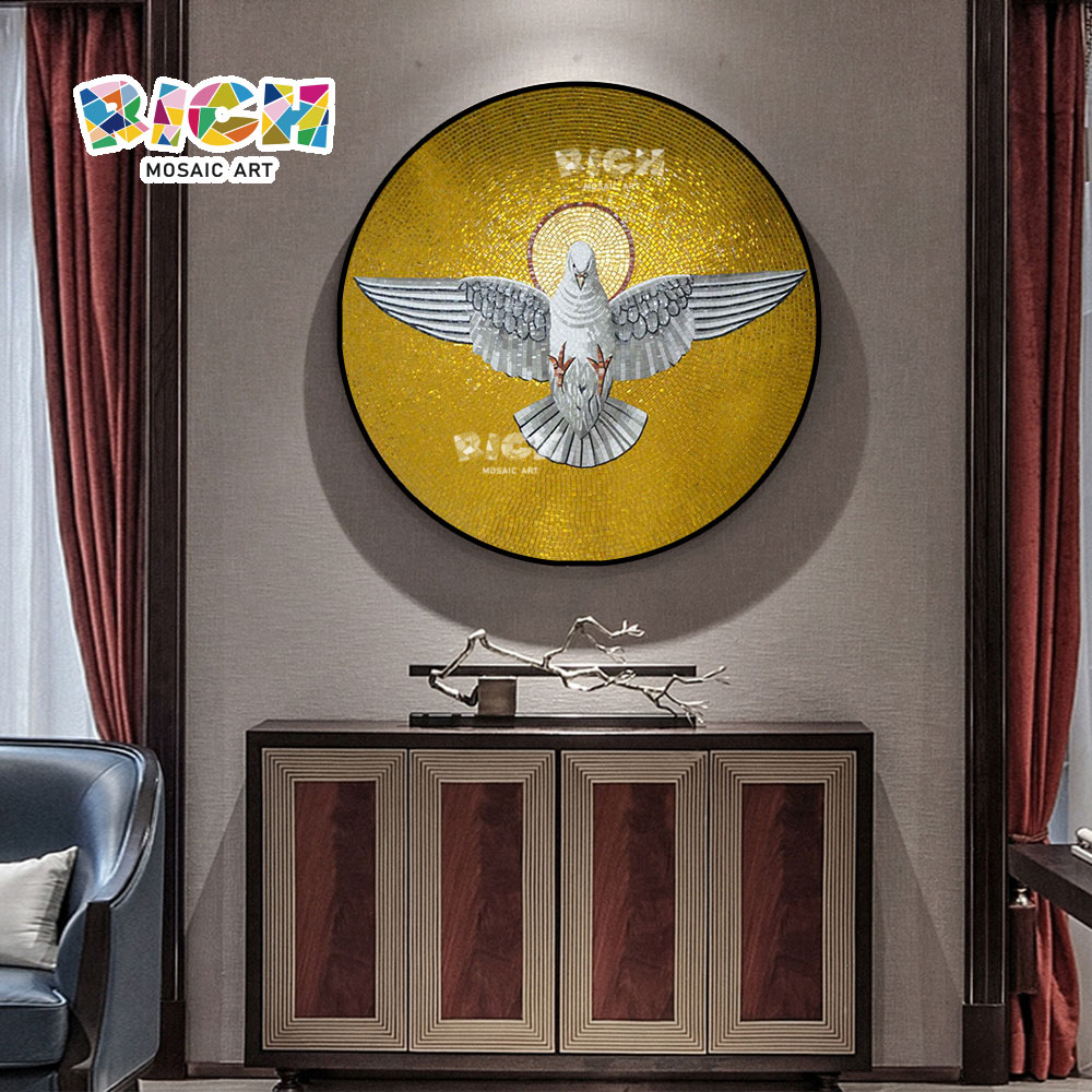 RM-RG01 Gold Bottom Peace Dove Design Christian Style mosaïque