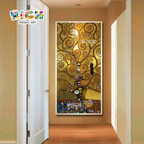 RM-RG01 Golden Mosaic Backsplash Klimt Tree Of Life