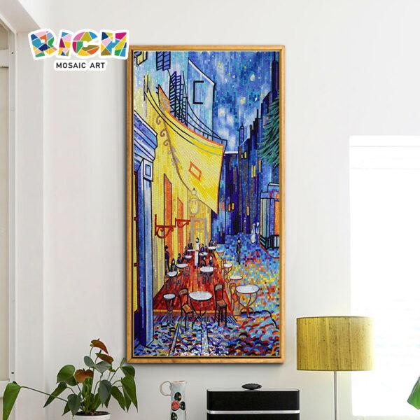 RM-RG02 Cafe terraço à noite Van Gogh pintura arte do mosaico