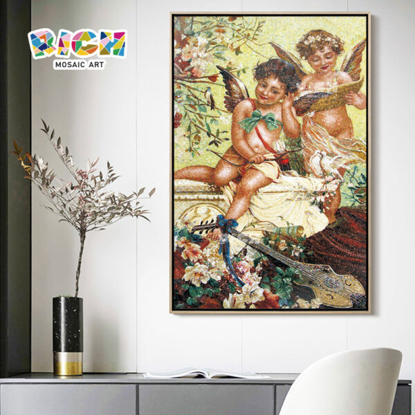RM-RG02 Two Lovely Cherubs Interior Mosaic Art Wall