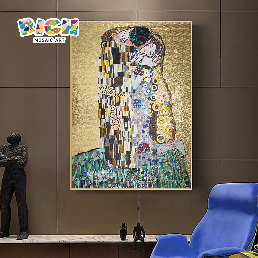 RM-RG04 Bedroom Luxury Mosaic Hanging Klimt's Kiss Painting Mural