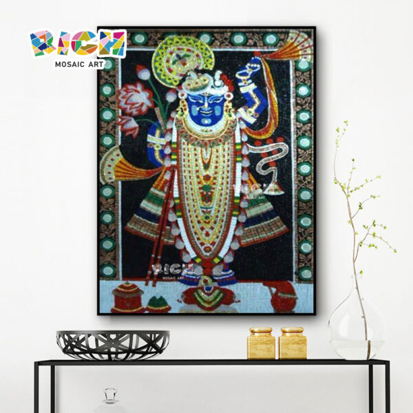 RM-RG09 Shiva Indian God Hanging Glass Handmade Mural