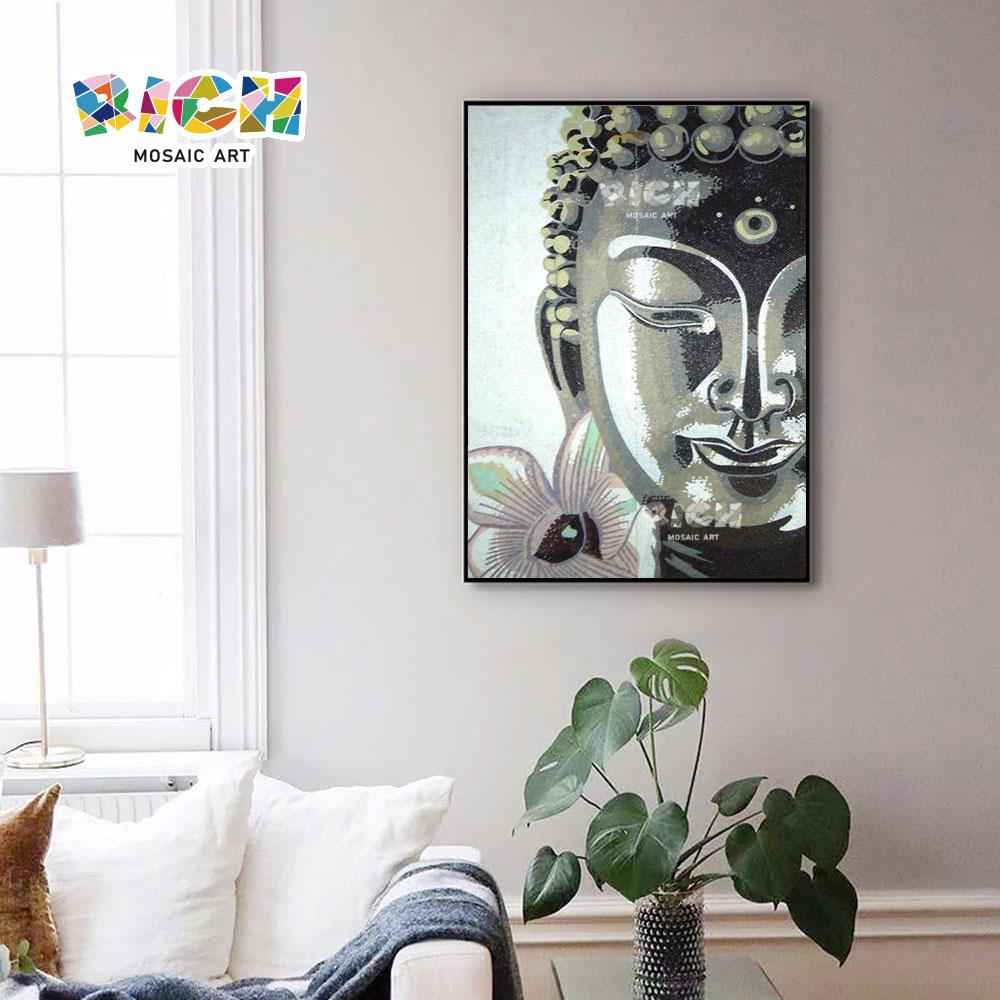 RM-RG10 Art klassieke boeddhistische hoofd mozaïek glas handwerk schilderij