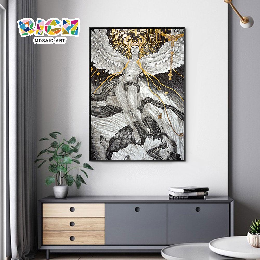 RM-RG11 distribuição preço Angel artesanato de alta qualidade vidro corte Mural
