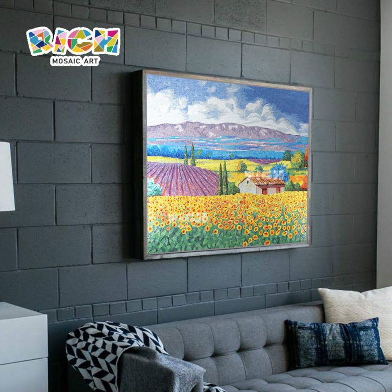 RM-SC01 Countryside Sunflower Field Scenery Mosaic Hanging Mural Picture