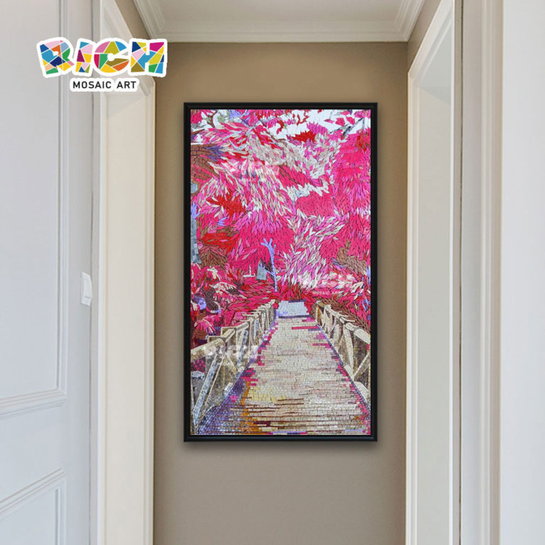 RM-SC07 Pink Cherry Blossom Landschap Bridge Mozaïek Cut Painting