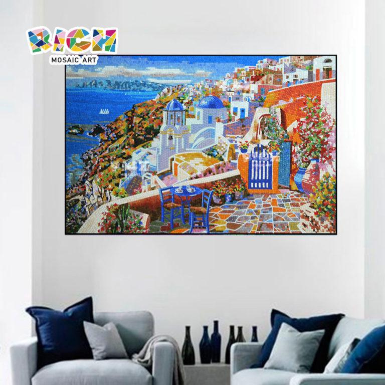 RM-SC10 Crète Aegean View canapé fond murale verre
