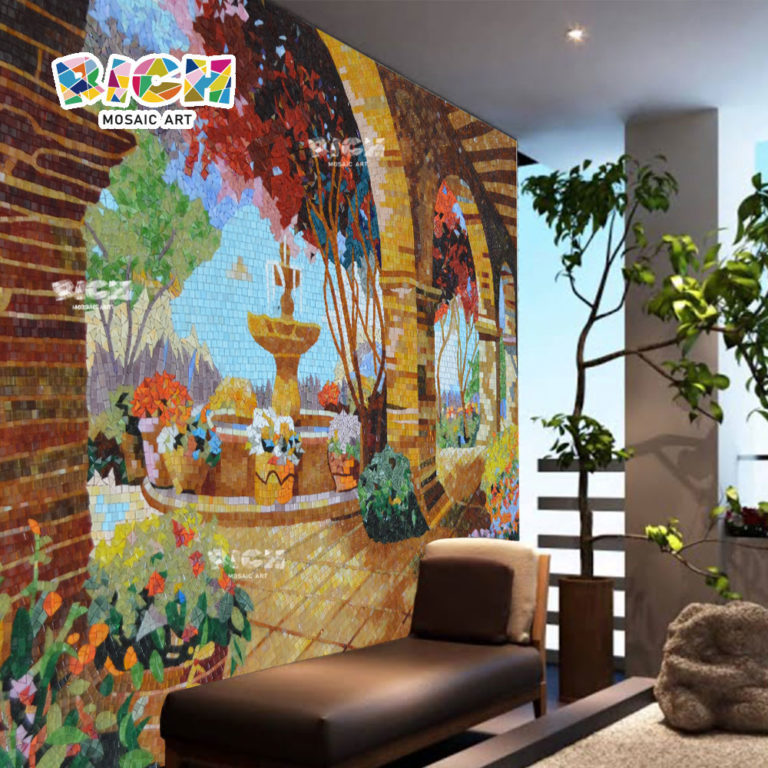 RM-SC11 Beautiful Garden Hotel Deluxe Room Balcony Wall Mosaic Background