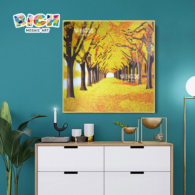 RM-SC12 Autumn Golden Leaf Avenue Mosaic Art