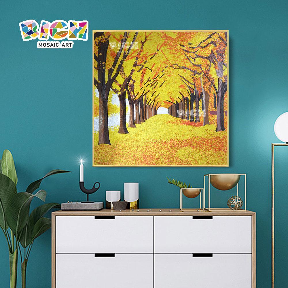 RM-SC12 Outono dourado folha Avenida arte do mosaico