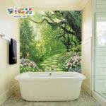 Caliente venta de mosaico de la pared del fondo de sendero selva hermoso baño bañera RM-SC14
