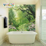 RM SC14 ร้อนขายเส้นทางเดินป่าที่สวยงามห้องน้ำอ่างอาบน้ำพื้นหลังผนังโมเสค