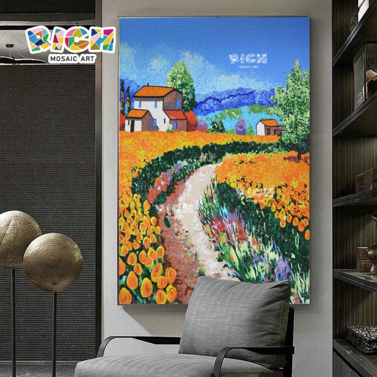 RM-SC15 Tulip campos parede azulejo mosaico fundo para sala de estar