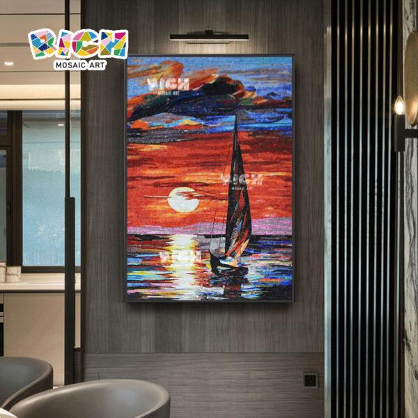 RM- SC16 พระอาทิตย์ตกล่องเรือที่ยอดเยี่ยมศิลปะโมเสคฝีมือ