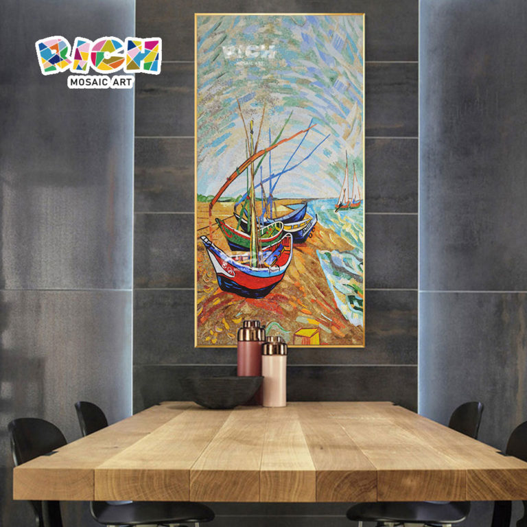 RM-SC18 Beach Sailboat Scenic Dining Room Mozaïek Opknoping Artwork