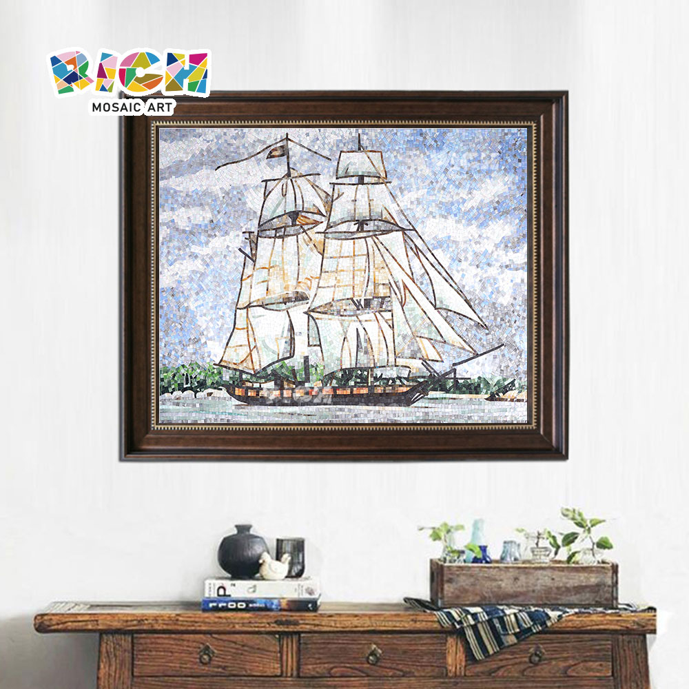 RM-SC19 Sailboat Wall Art Pattern Frame Glass Mosaic Painting