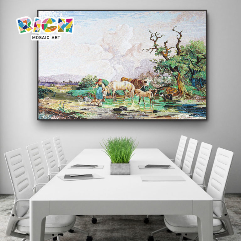 RM-SC20 Mosaics For Meeting Room Grazing Natural Scenery Suburbs Mural Art