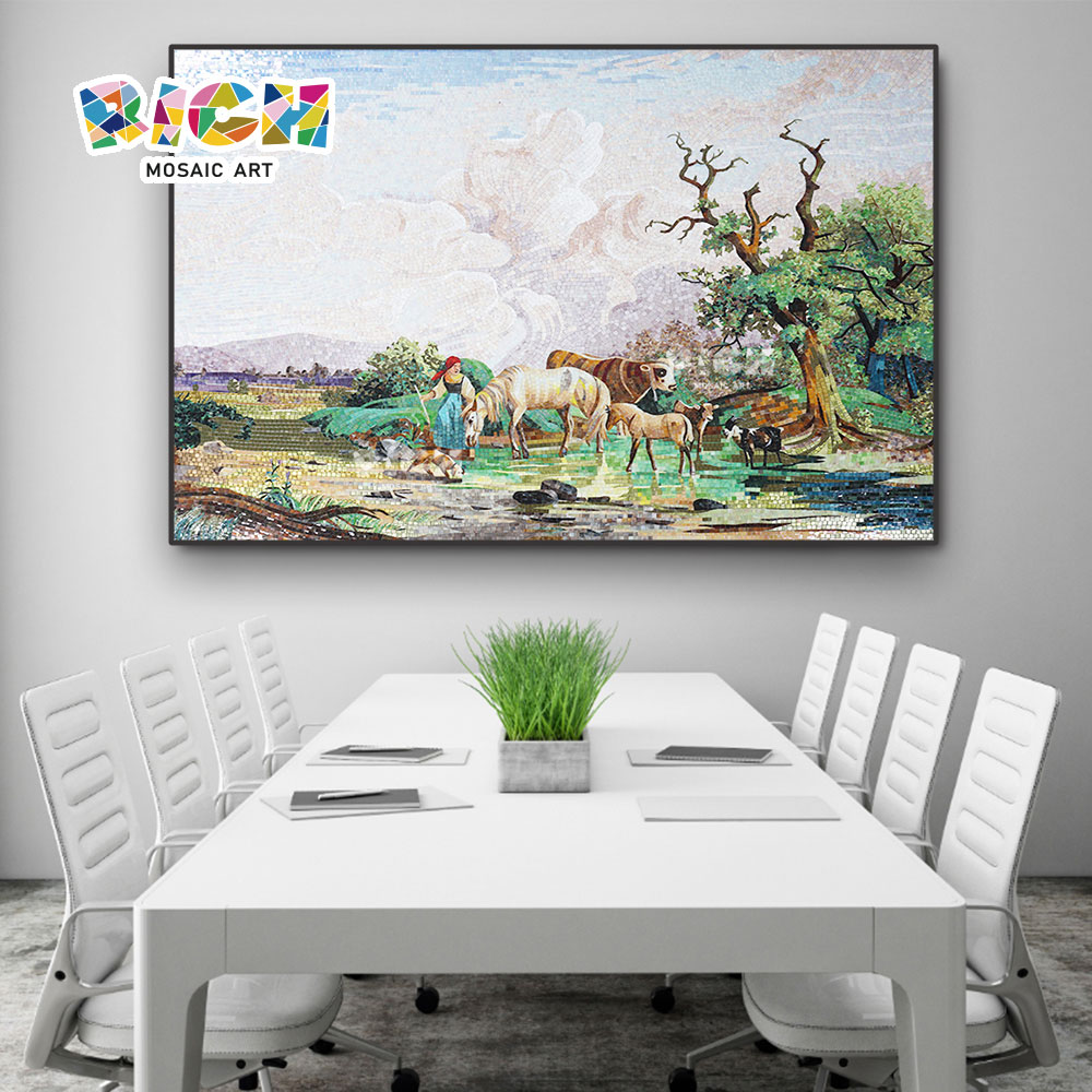 RM-SC20 мозаики для конференц-зала, выпаса природного пейзажа пригородов Mural Art