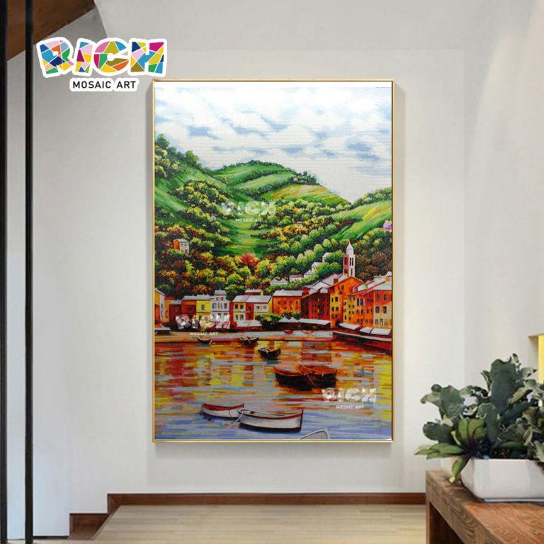 """فن الفسيفساء الأوروبية RM-SC23 """"معلقة جدارية المناظر الطبيعية"""""""