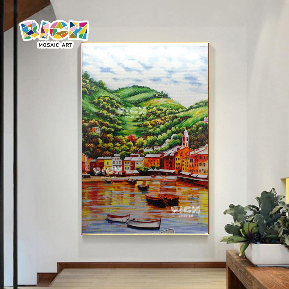 RM-SC23 Europäische Mosaikkunst hängen natürliche Landschaft Wandbild