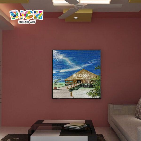 RM-SC24 Seaside Resort Hotel Design Mosaic Murals For Wall