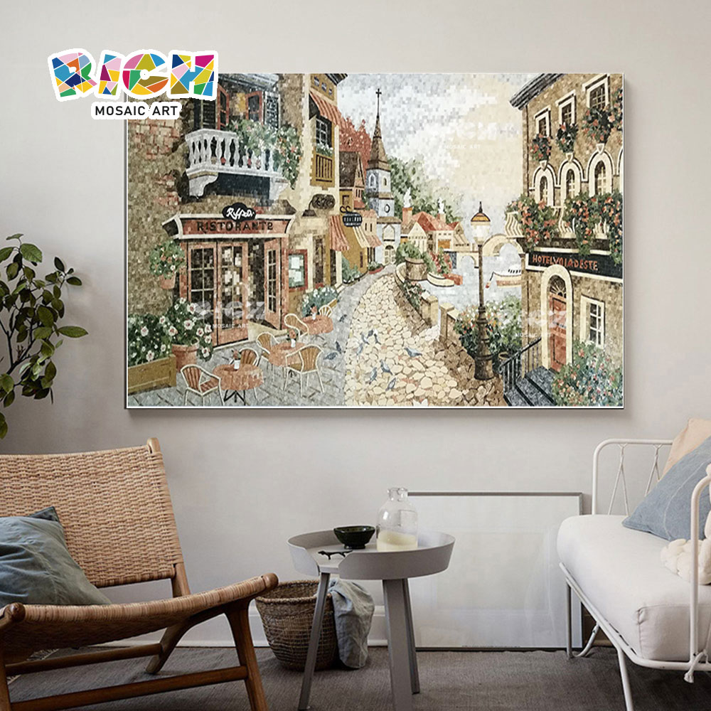 RM-SC27 Europese stad landschap fijn mozaïek muurschildering