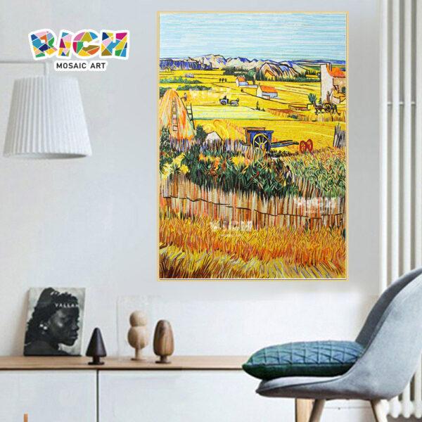 RM-SC34 campo de trigo colheita de vidro pendurado telha mosaico murais padrões