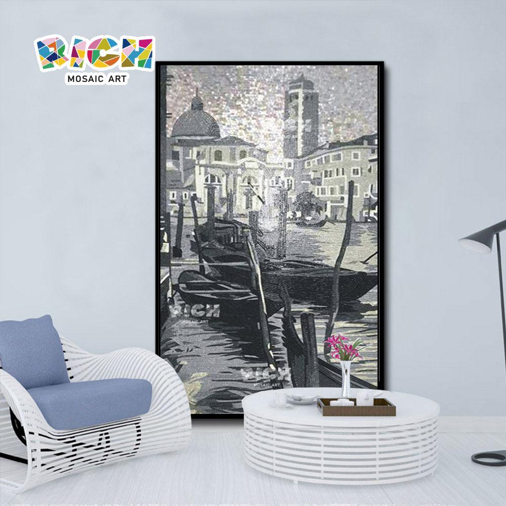 RM-SC36 mosaïque Home Decor cadeau décor eau ville verre murale