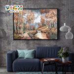 RM-SC38 желтого стекла мозаики прихожей стены росписи лес мозаичная картина