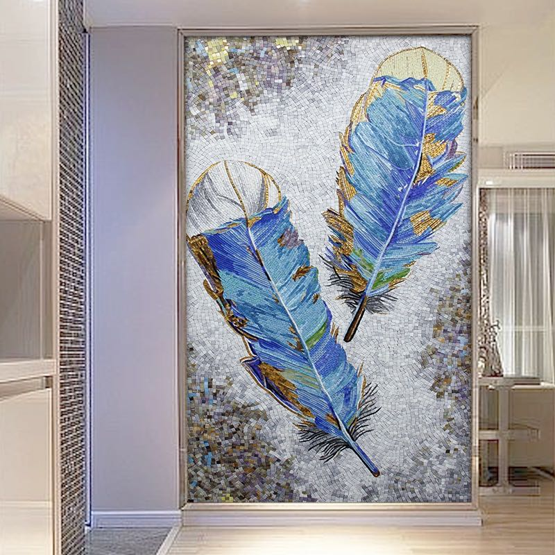 What difference between handcrafted mosaic mural and pexel mosaic pattern?