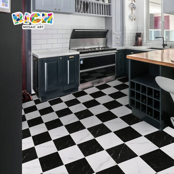 Classic Black and White Marble Texture Non-slip Kitchen Tiles