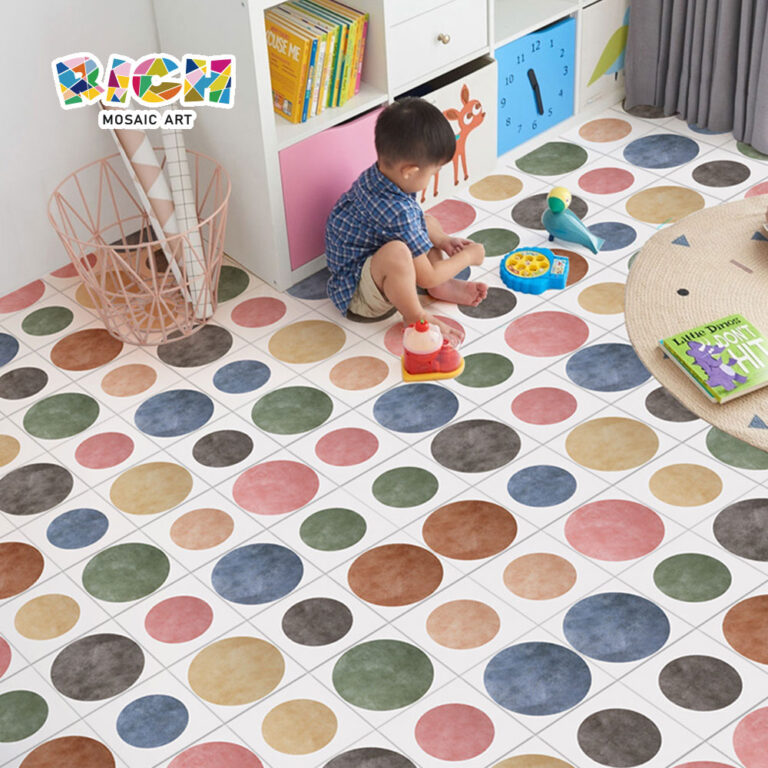 Creative Color Circle Design Tile Floor for Children's Room