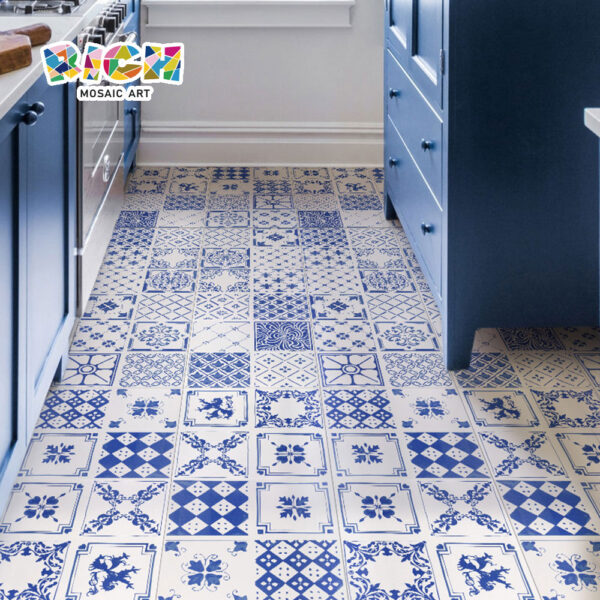 RM-ACT01 Paint-Blue-Pattern-Ceramic-Art-Tile-300X300-Floor