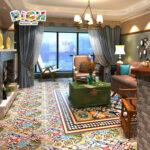 Euramerican نوع غرفة الجلوس الجدار الصقيل بلاط السيراميك الملونة المختلطة