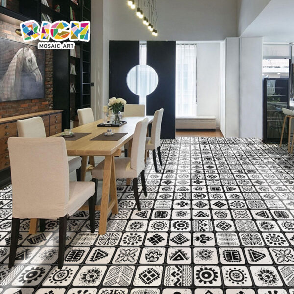 Home Decoration Hot Black and White Color Non - slip Glazed Tiles
