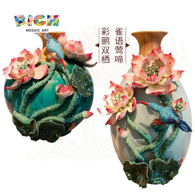 AM-CSF03 مزهرية الزهور الصينية التقليدية مع زهرة اللوتس مطلية في درجة حرارة عالية