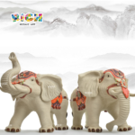 China Shiwan Figurines Hand-painted Lucky Elephant A Pair of Home Decoration Artwork