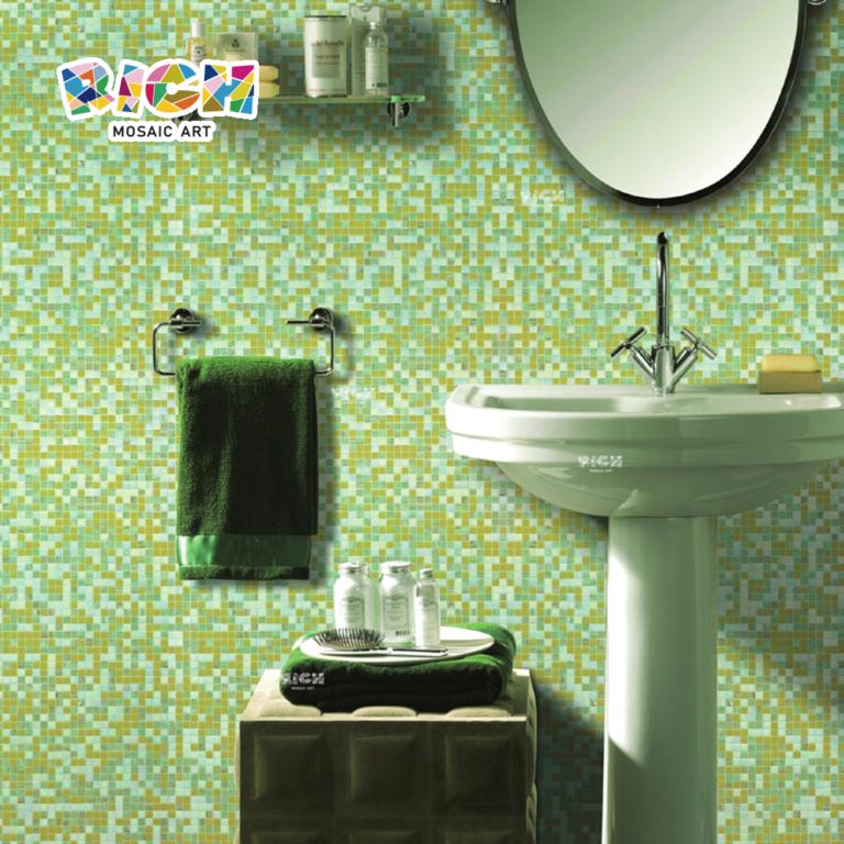 RM-HMG03 Green Mix Mosaic 20cm Tile Bathroom Wall Mosaics