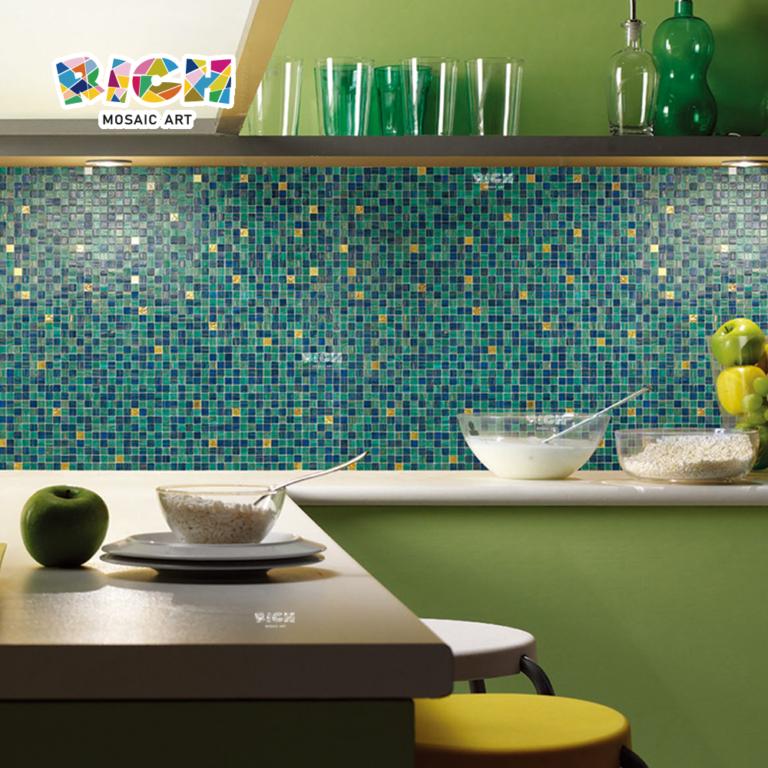 RM-HMG06 Dinner Room Mosaik Dekor Glasfliesen Bule mit Gold