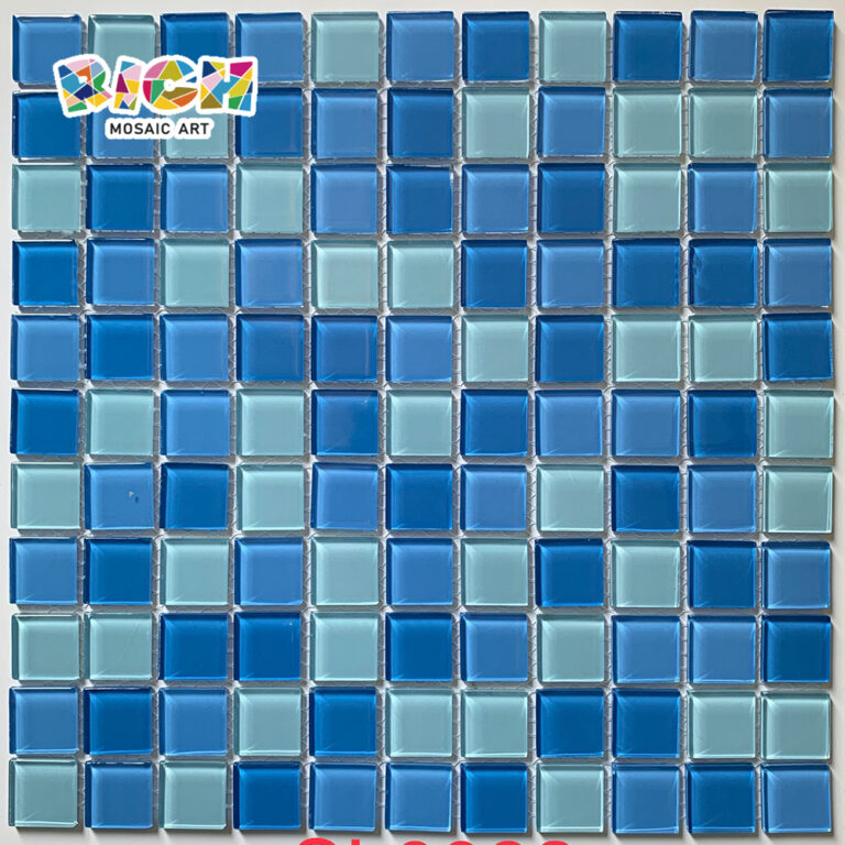 RM-CMP17 Hoja de mosaico de mosaico de vidrio mixto azul en 300X300 mm
